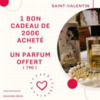 Un bon cadeau d'une valeur de 200€ à utiliser chez Madame Rêve et un parfum à retirer dans la boutique